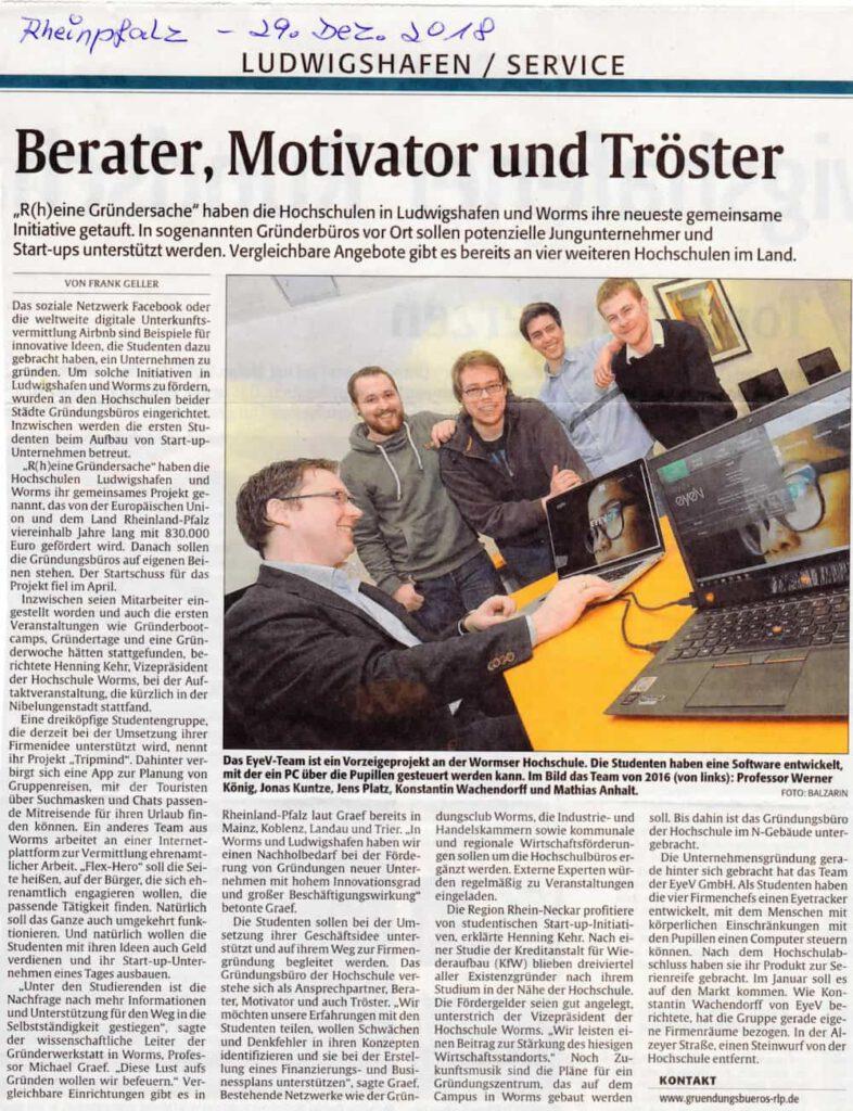 Presseartikel zum Gründungsbüro und Start-ups in Worms