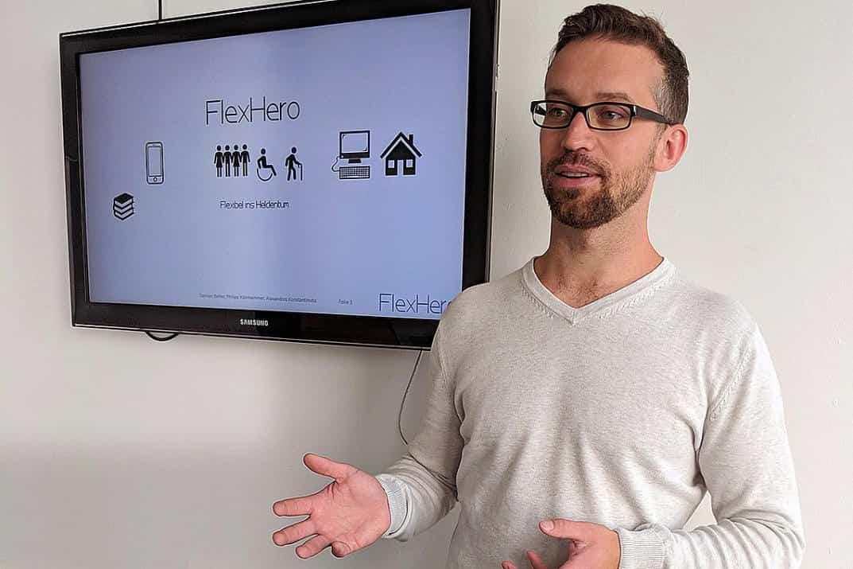 Damian Belter präsentiert die Flexhero App