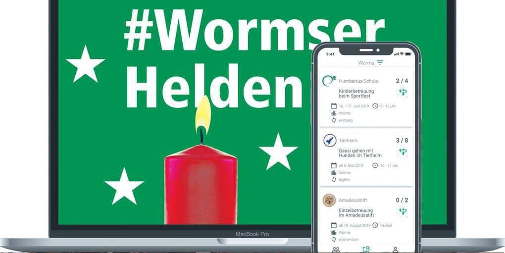 """FlexHero App und Bildschirm """"Wormser Helden"""""""