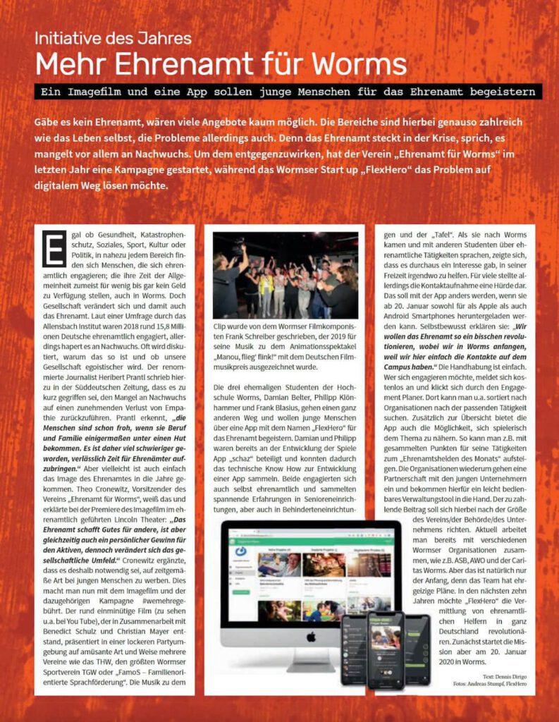 Mehr Ehrenamt für Worms ein Zeitungsartikel des wormser Stadtmagazins zur Initiative des Jahres : Mehr Ehrenamt für Worms