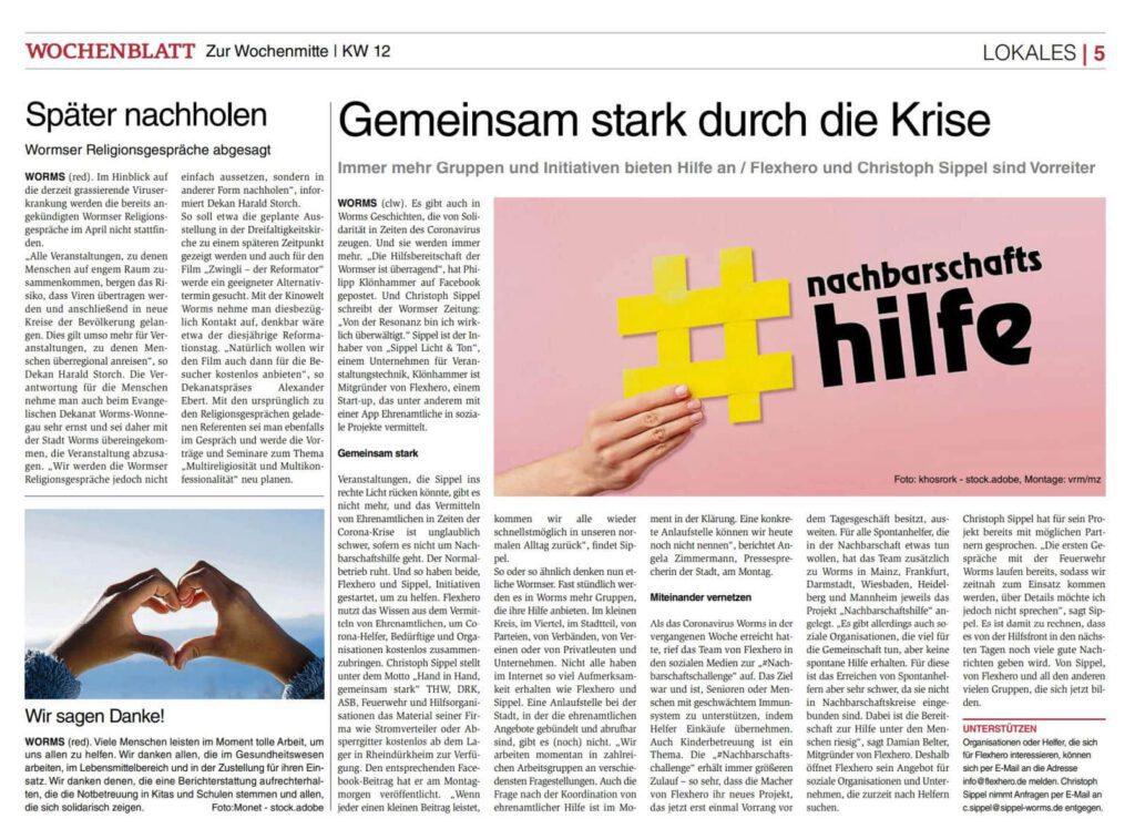 Zeitungsartikel über Initiativen wie FlexHero, die sich in der Corona Krise entwickelt haben