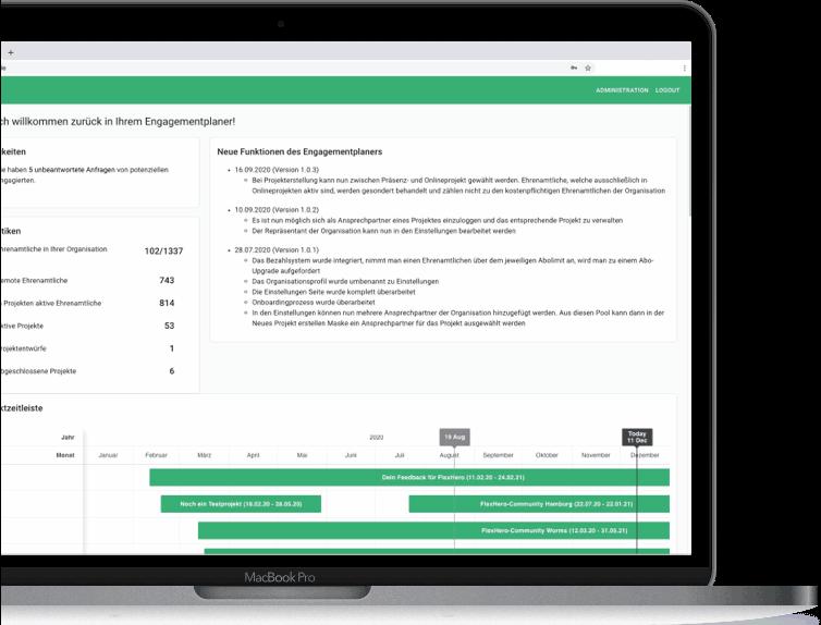 Engagementplaner auf Laptop mit Neuigkeiten von FlexHero