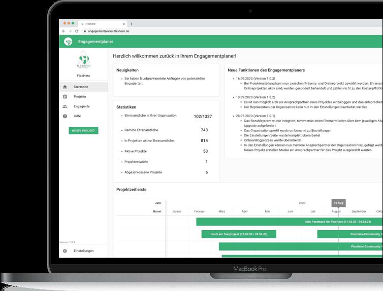Engagementplaner Startseite mit Statistiken eines gemeinnützigen Vereins