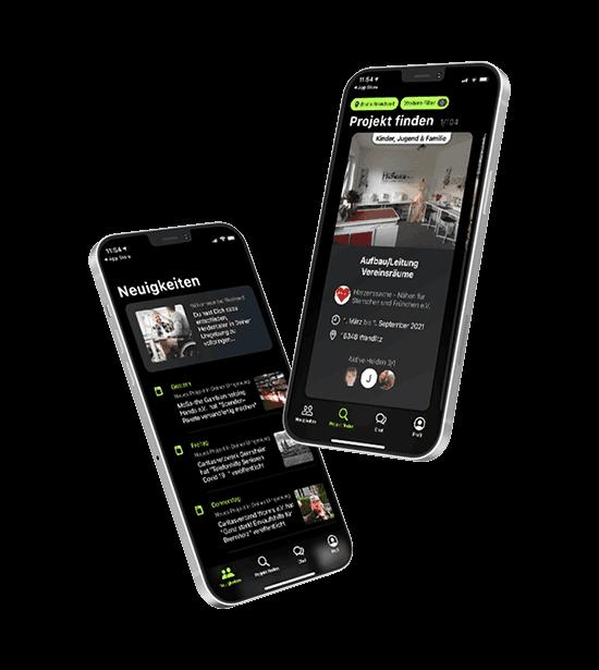 Zwei Smartphones mit FlexHero App, auf denen Projekte im Ehrenamt dargestellt werden