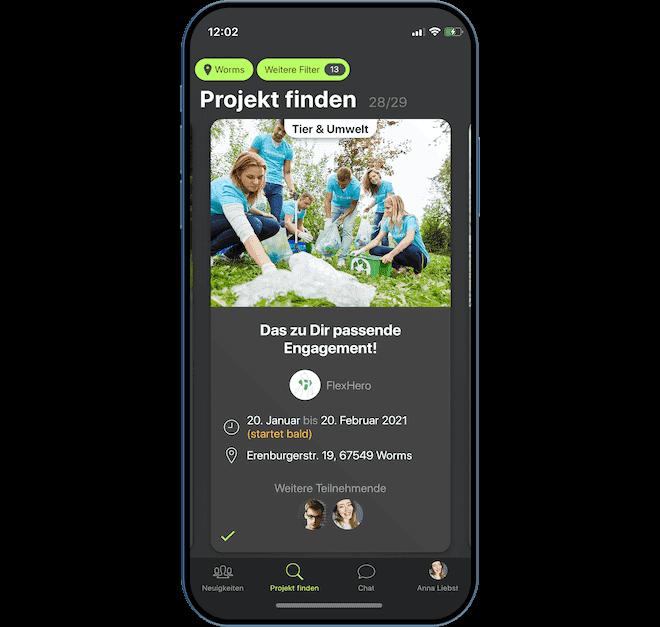 App-Darstellung eines ehrenamtlichen Projekts