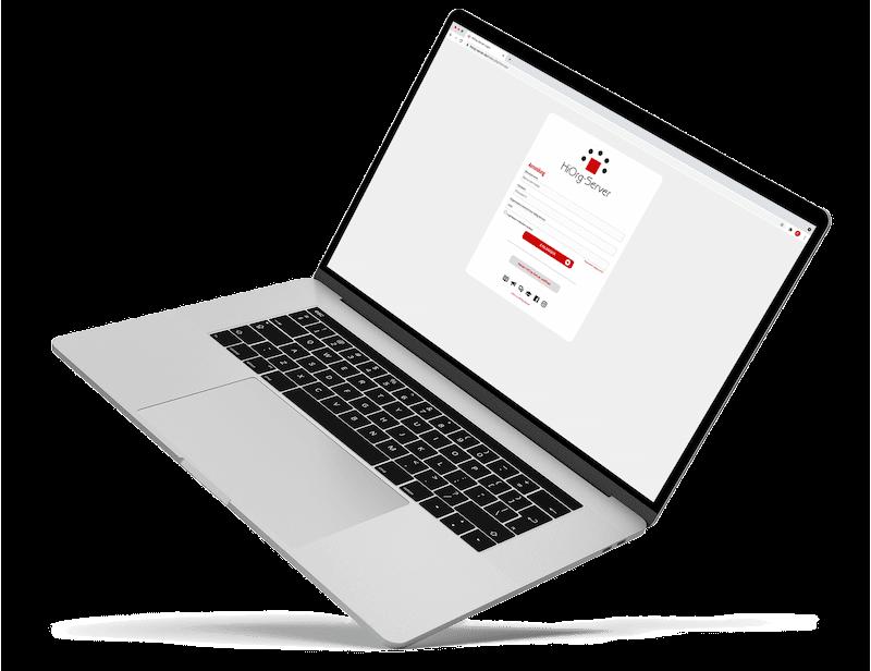 Laptop mit dem Login von HiOrg Server