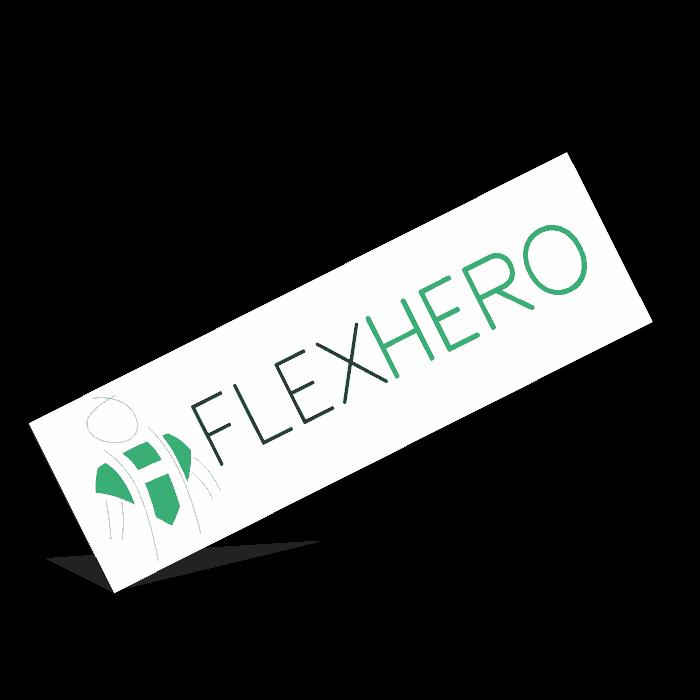 Schriftzug und Logo von FlexHero