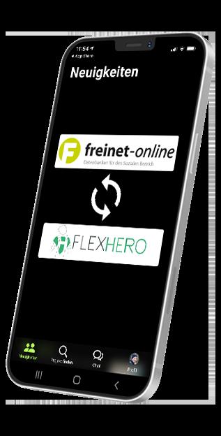 Smartphone auf dem die Schnittstelle zwischen FlexHero und Freinet-Online dargestellt wird