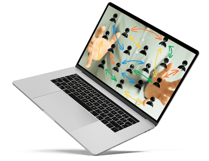 Laptop mit Händen, die ein Netzwerk im Ehrenamt aufspannen