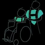 Ehrenamtlicher Held schiebt Senior im Rollstuhl