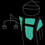 Held mit Waag in der Hand als Zeichen für das Ehrenamt in der Justiz