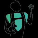Ehrenamtlicher Held mit Hase in der einen und Blume in der anderen Hand