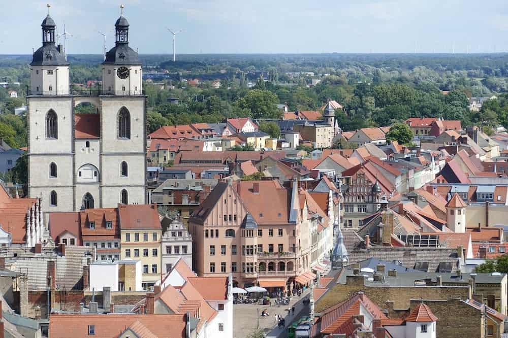 Die Stadt und Kirche in Wittenberg von Oben