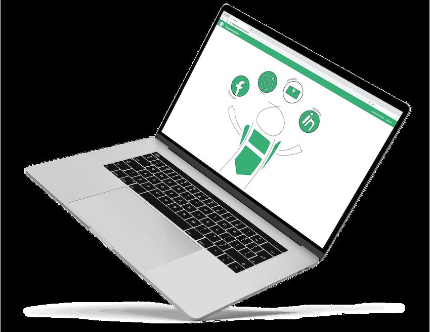 Laptop mit Social Media Kanäle für ehrenamtliche Vereine