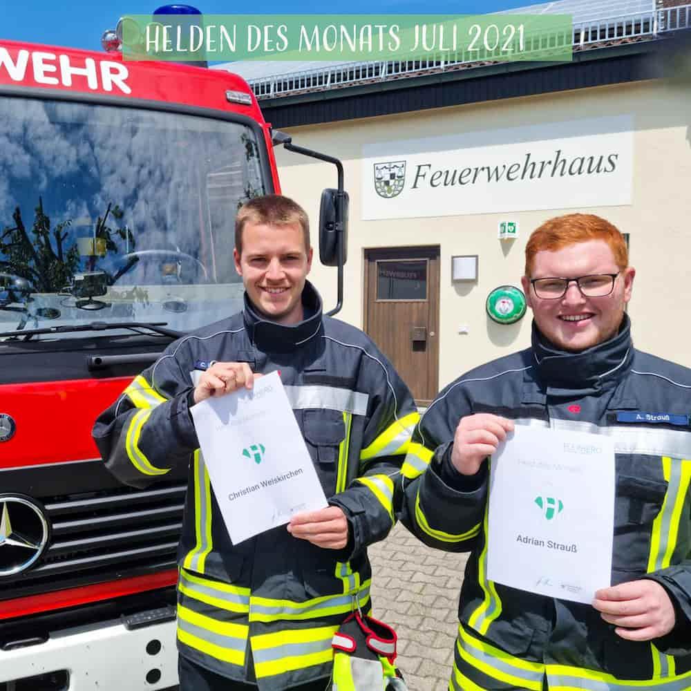 Christian Weiskirchen und Adrian Strauss von der Freiwilligen Feuerwehr sind unsere Helden des Monats Juli 2021